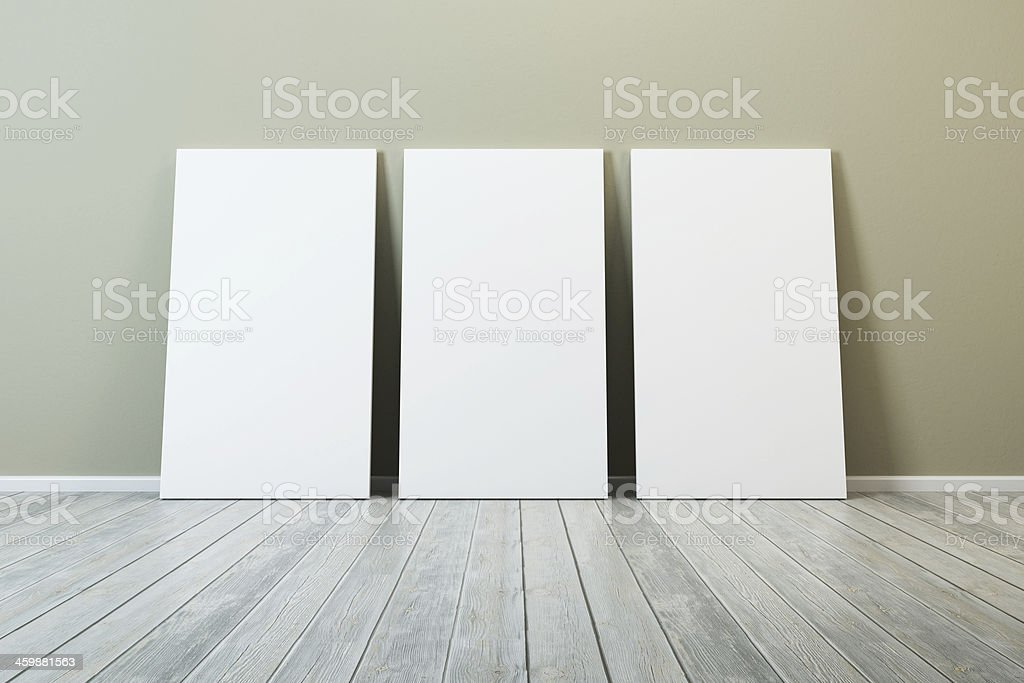 several blank picture in the room stock photo