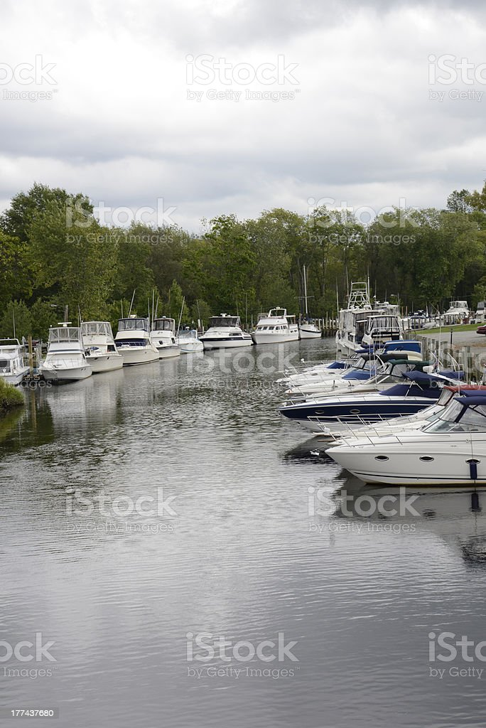 several boats in an inlet royalty-free stock photo