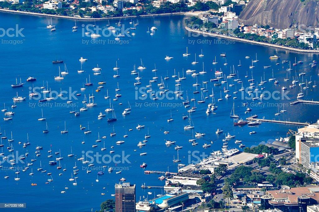 Several boats in Guanabara Bay stock photo