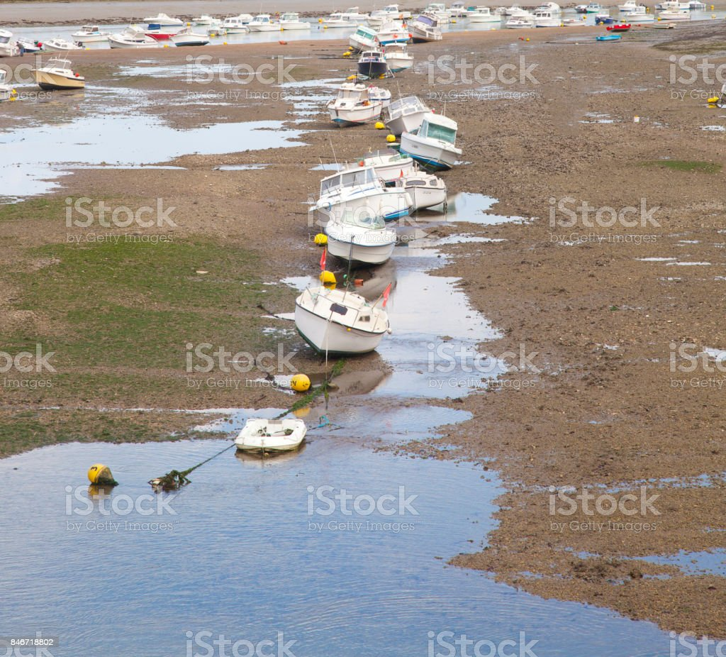 Several boats in harbor of Saint Gilles Croix de Vie, Vendee in France stock photo
