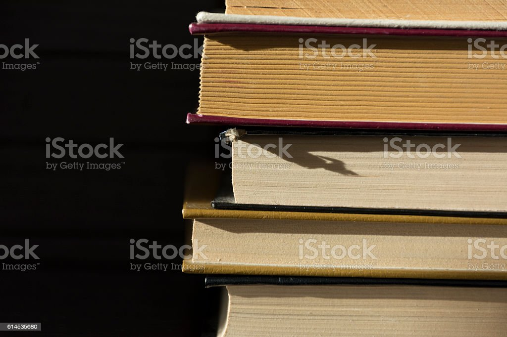 several books lie on each other stock photo