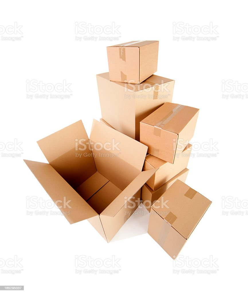 Several cardboard boxes on a white background stock photo