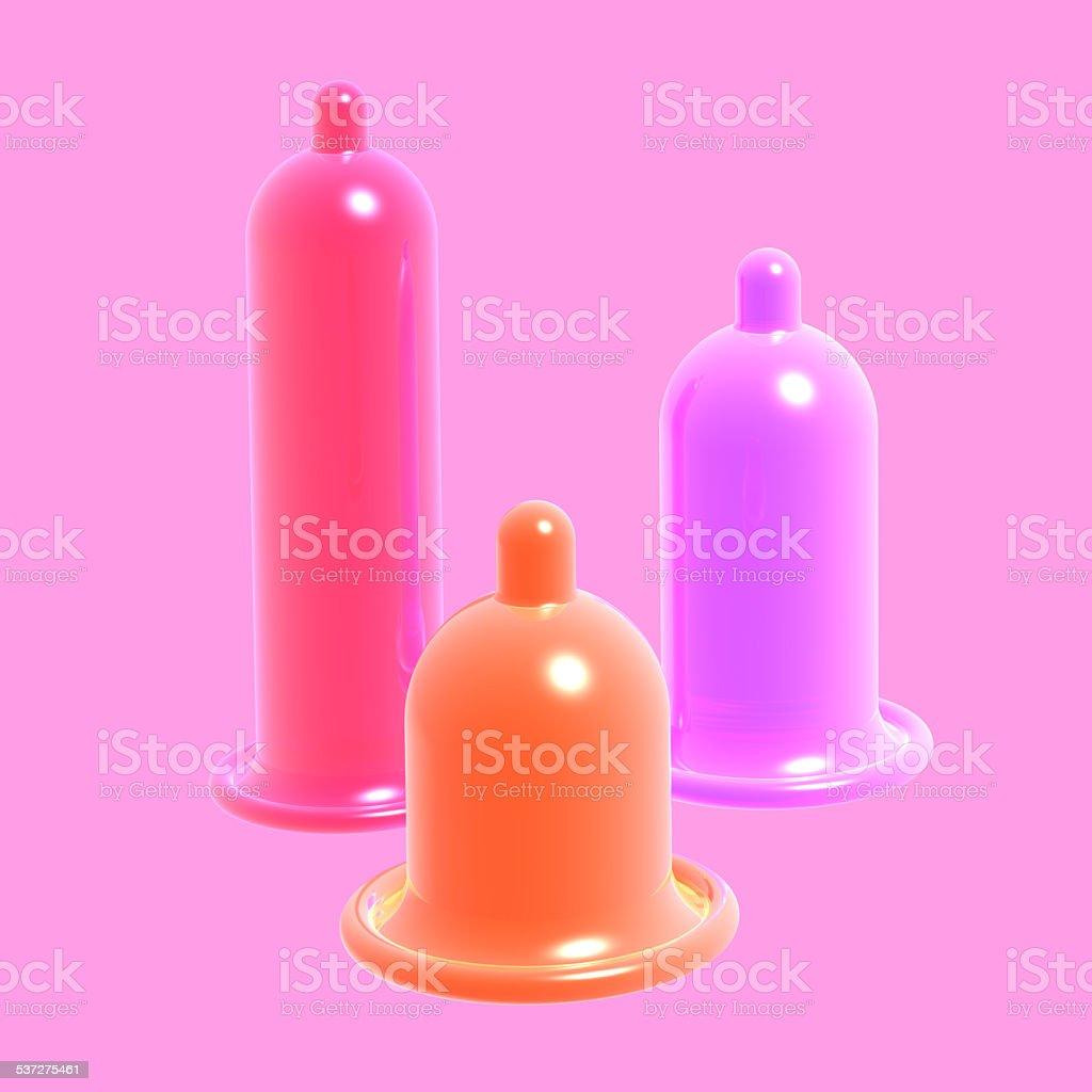 Several condom color stock photo