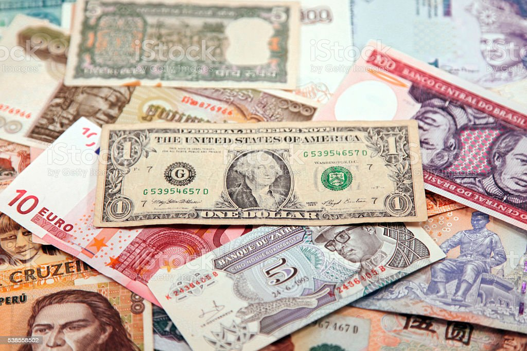 Several countries banknotes stock photo