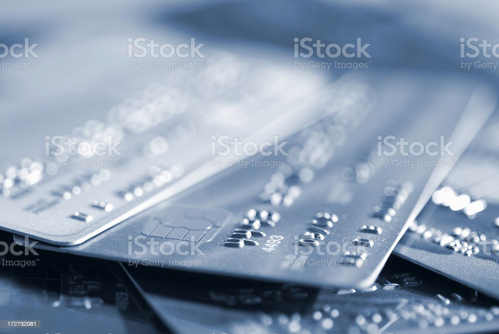 Several Credit Cards Selective Focus royalty-free stock photo