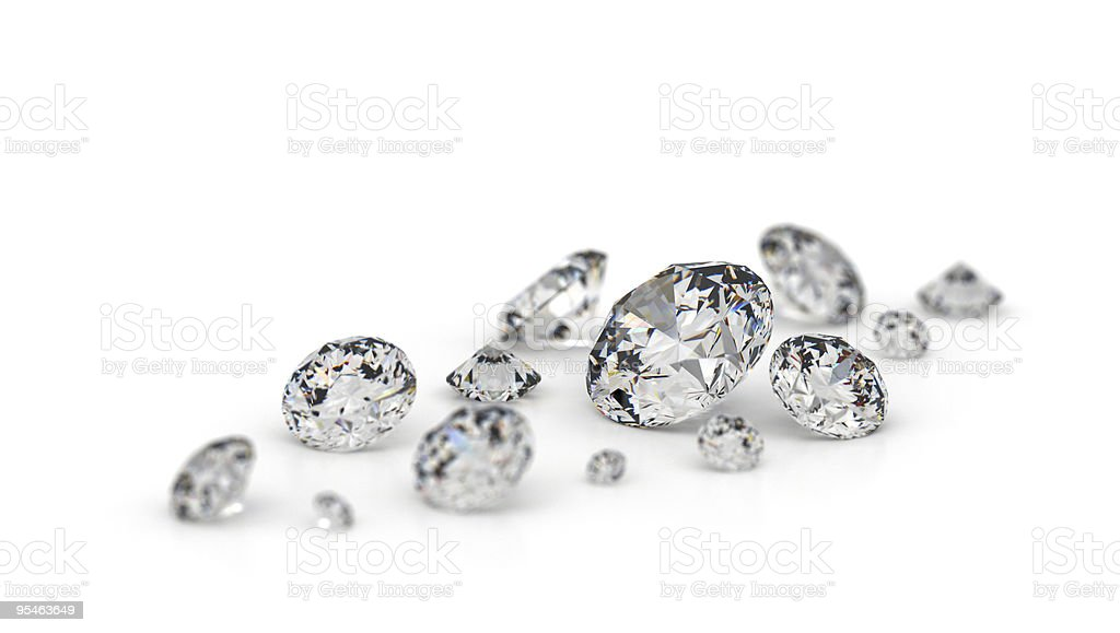 Several diamonds. stock photo