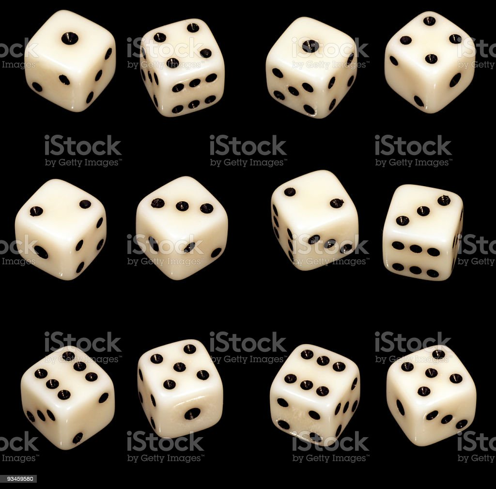 Several dice combinations and orientations on black royalty-free stock photo