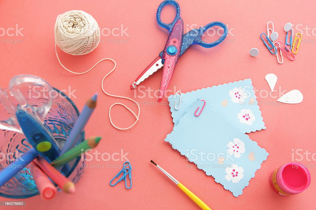 Several different children's art supplies royalty-free stock photo