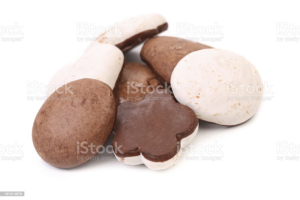 Several different chocolate meringues. stock photo