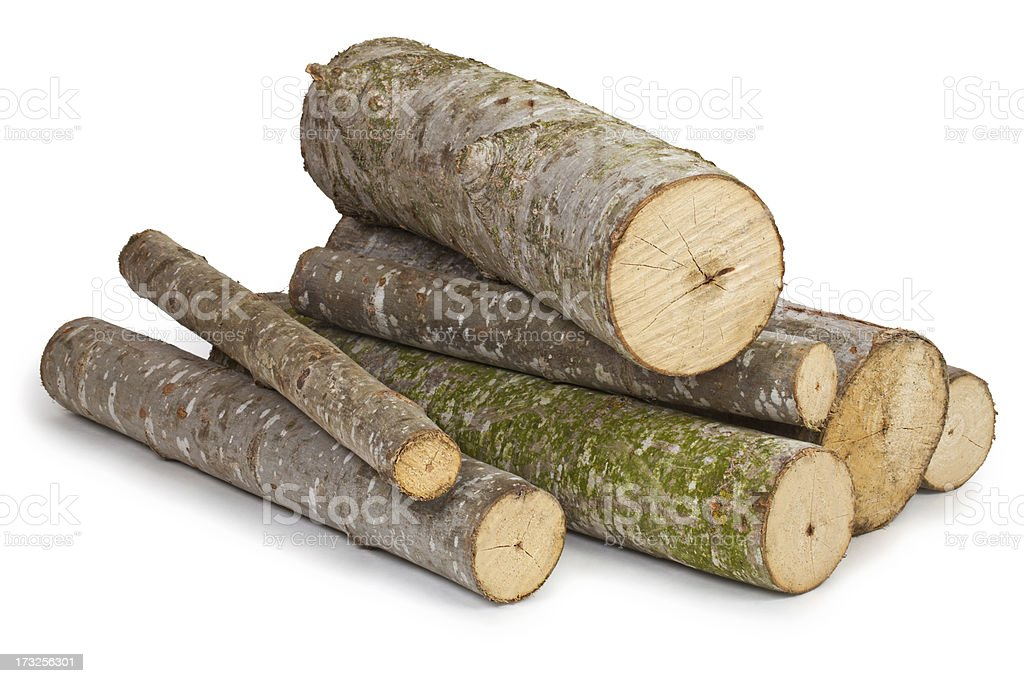 Several different sized logs on a white background stock photo