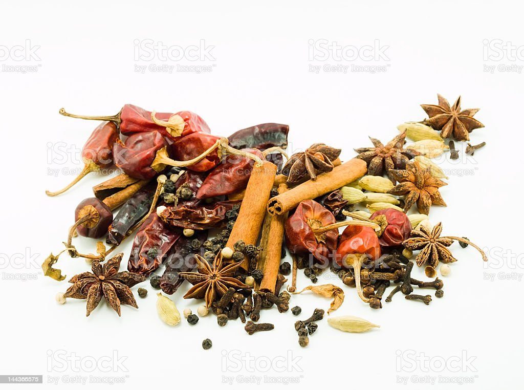 Several different spices against white background royalty-free stock photo