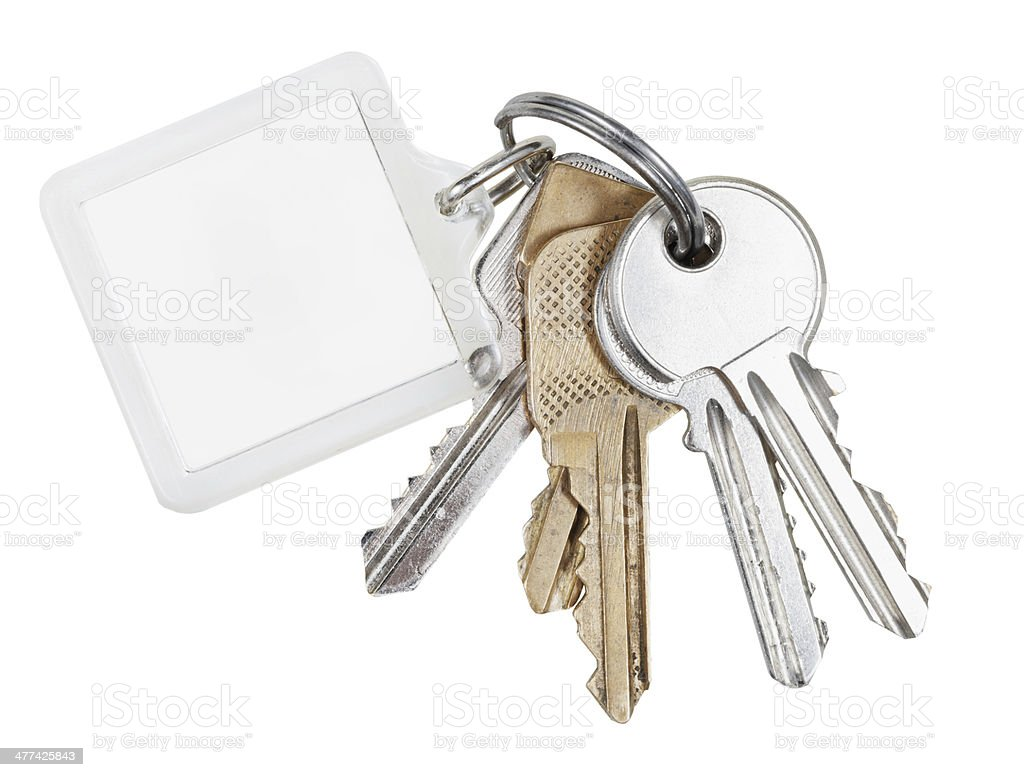 several door keys on ring and keychain stock photo