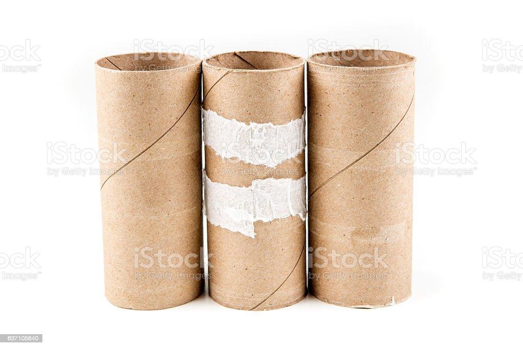 Several empty toilet paper rolls stock photo