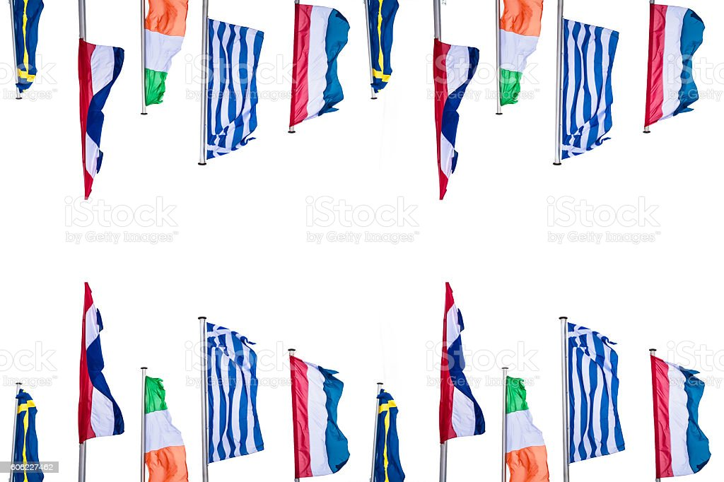 Several Europe countries flags stock photo