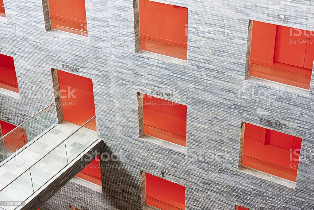 Several floors inside a modern futuristic  office building royalty-free stock photo