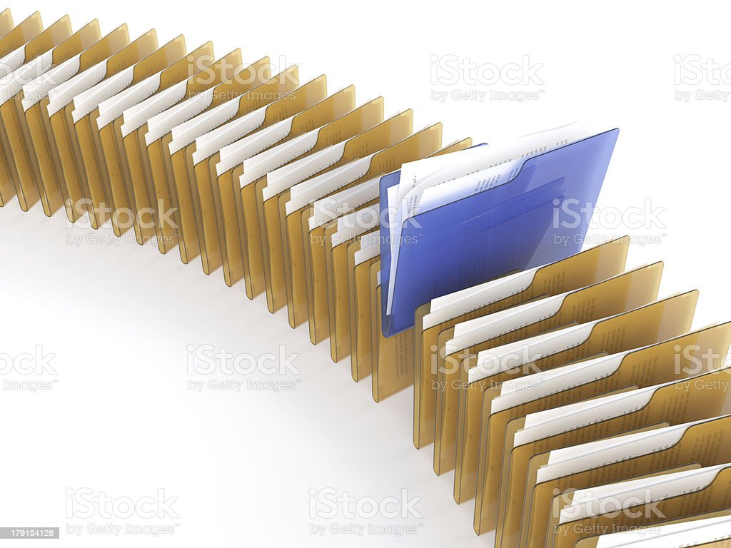 Several folders of gold and blue with files stock photo