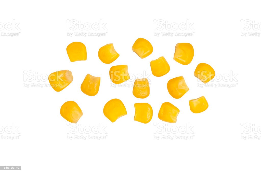 Several grains of canned corn isolated stock photo