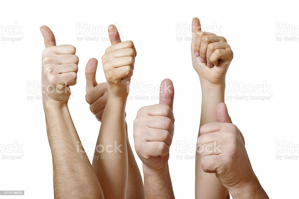Several hands giving a thumbs up on white background royalty-free stock photo