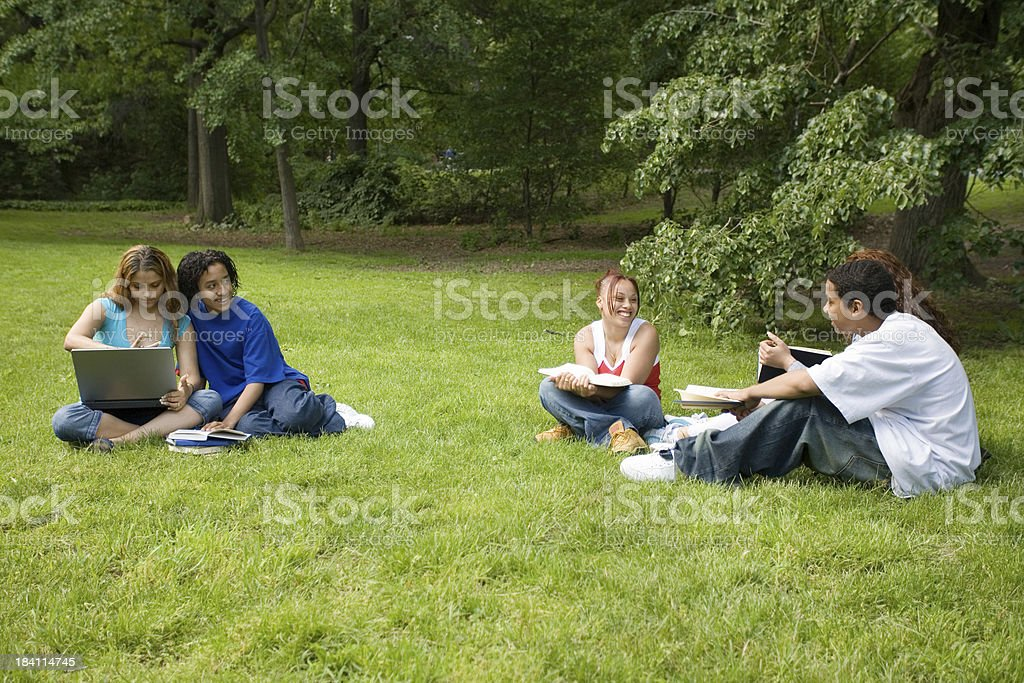 Several Hispanic students learning in the park royalty-free stock photo