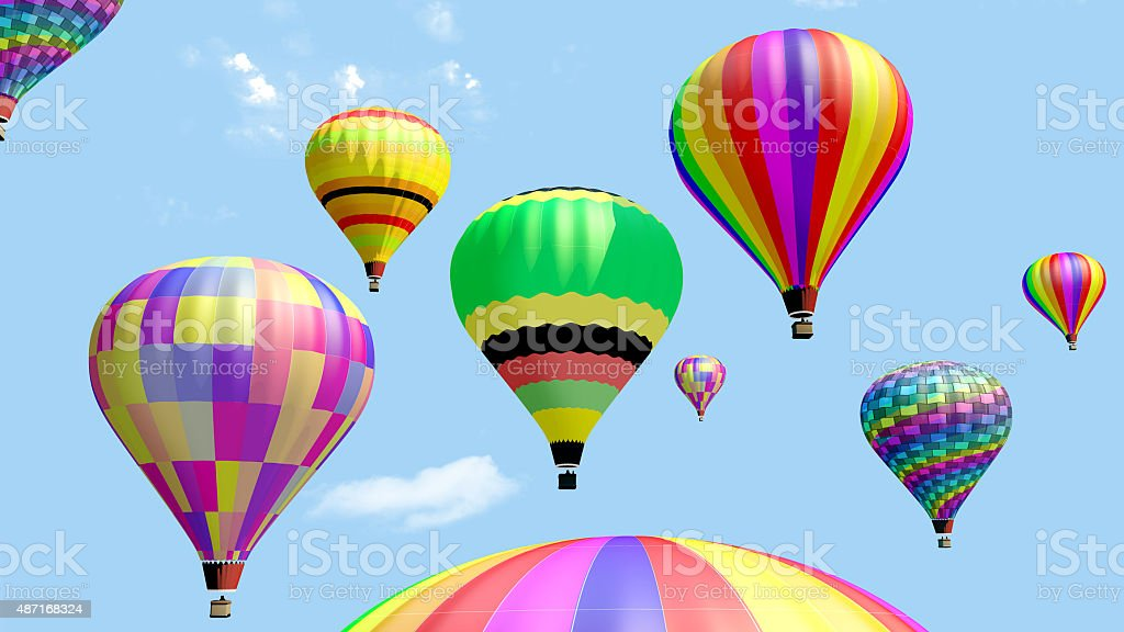 Several hot air balloon flying in the blue sky. stock photo