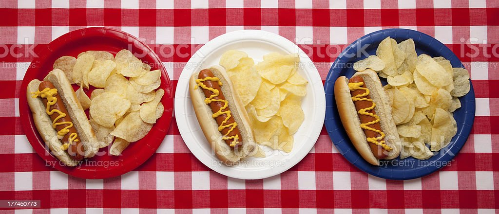 Several hotdogs on colored plates royalty-free stock photo
