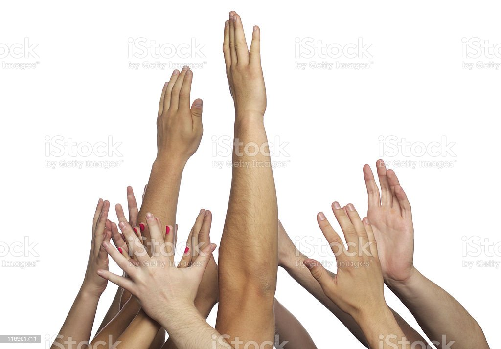 Several human hands reaching up over a white background royalty-free stock photo