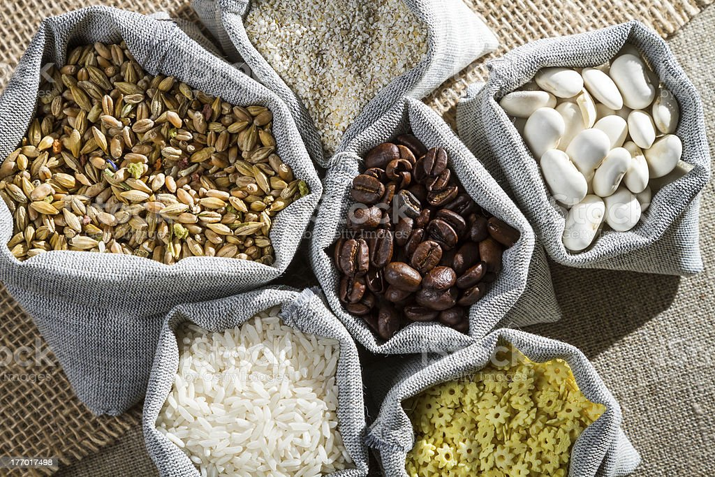Several ingredients food in cloth bags royalty-free stock photo