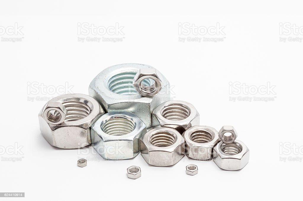 several iron bolts stock photo