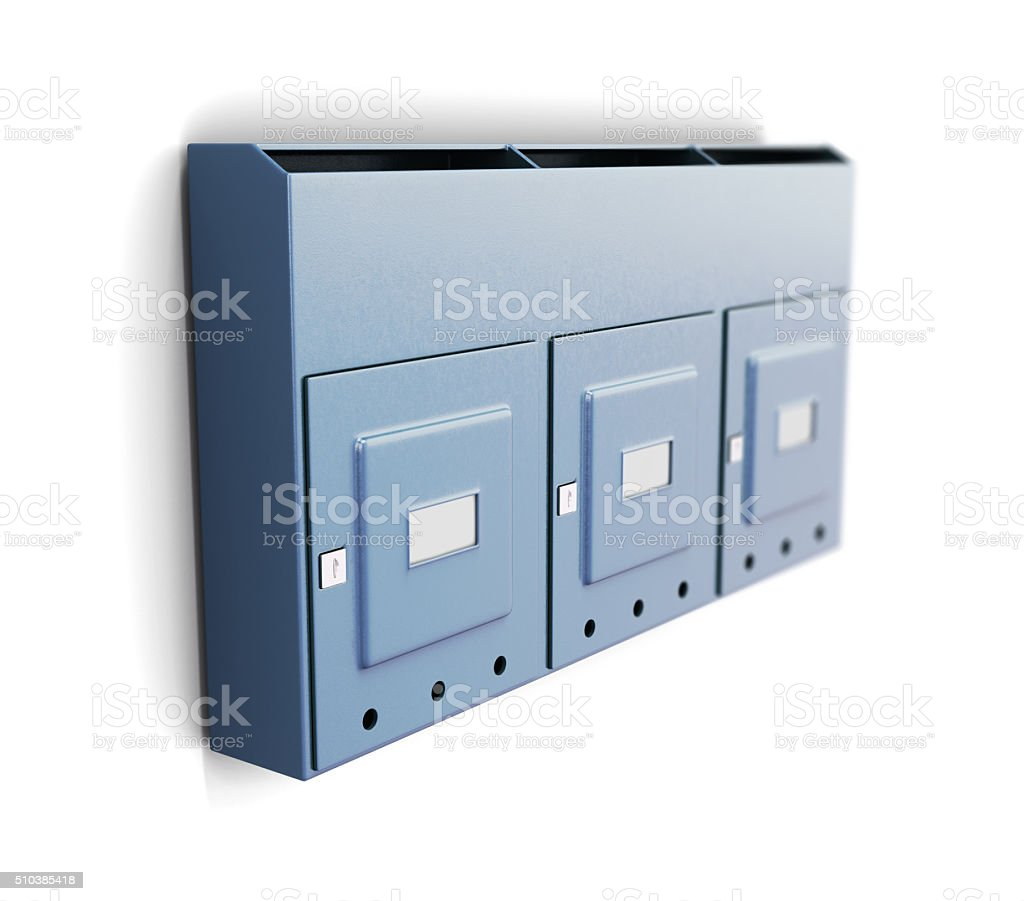 Several iron mailboxes on a white background. 3d rendering stock photo