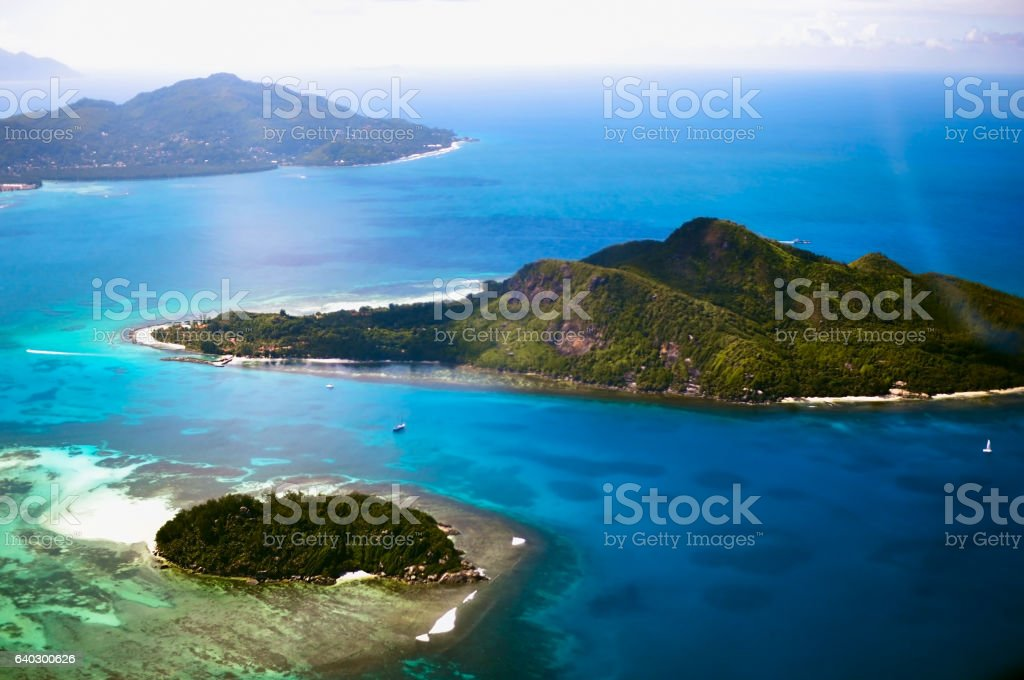 Several islands of the Seychelles Republic aerial view stock photo