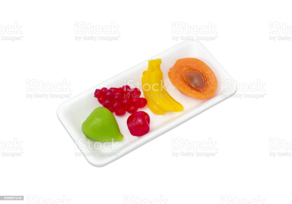 Several jelly candies in the form of different fruits stock photo