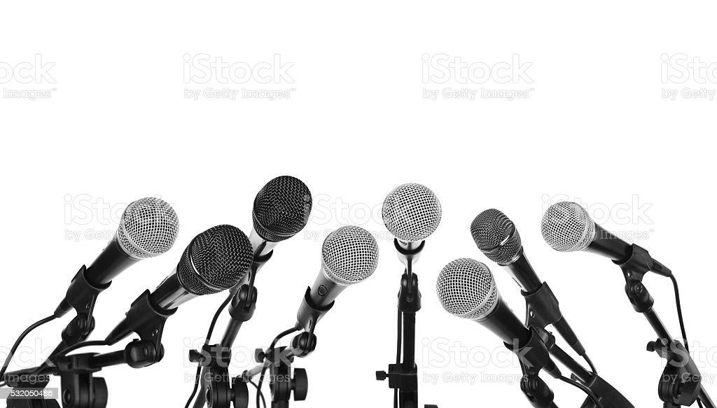 Several microphones prepared stock photo