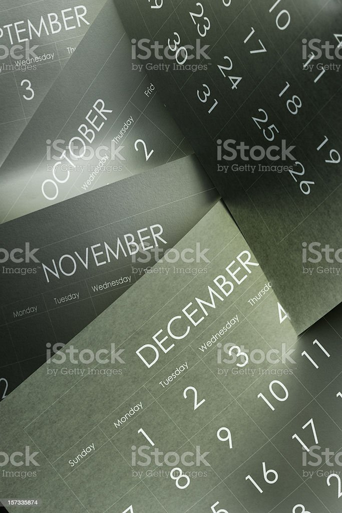 Several monthly calendars marking the passage of time  royalty-free stock photo