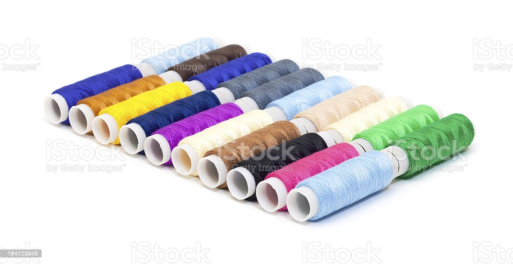 Several Multicolor Spools of Thread royalty-free stock photo