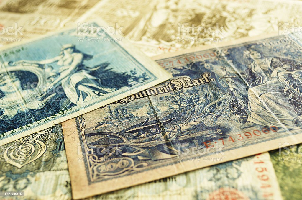Several old banknotes. royalty-free stock photo