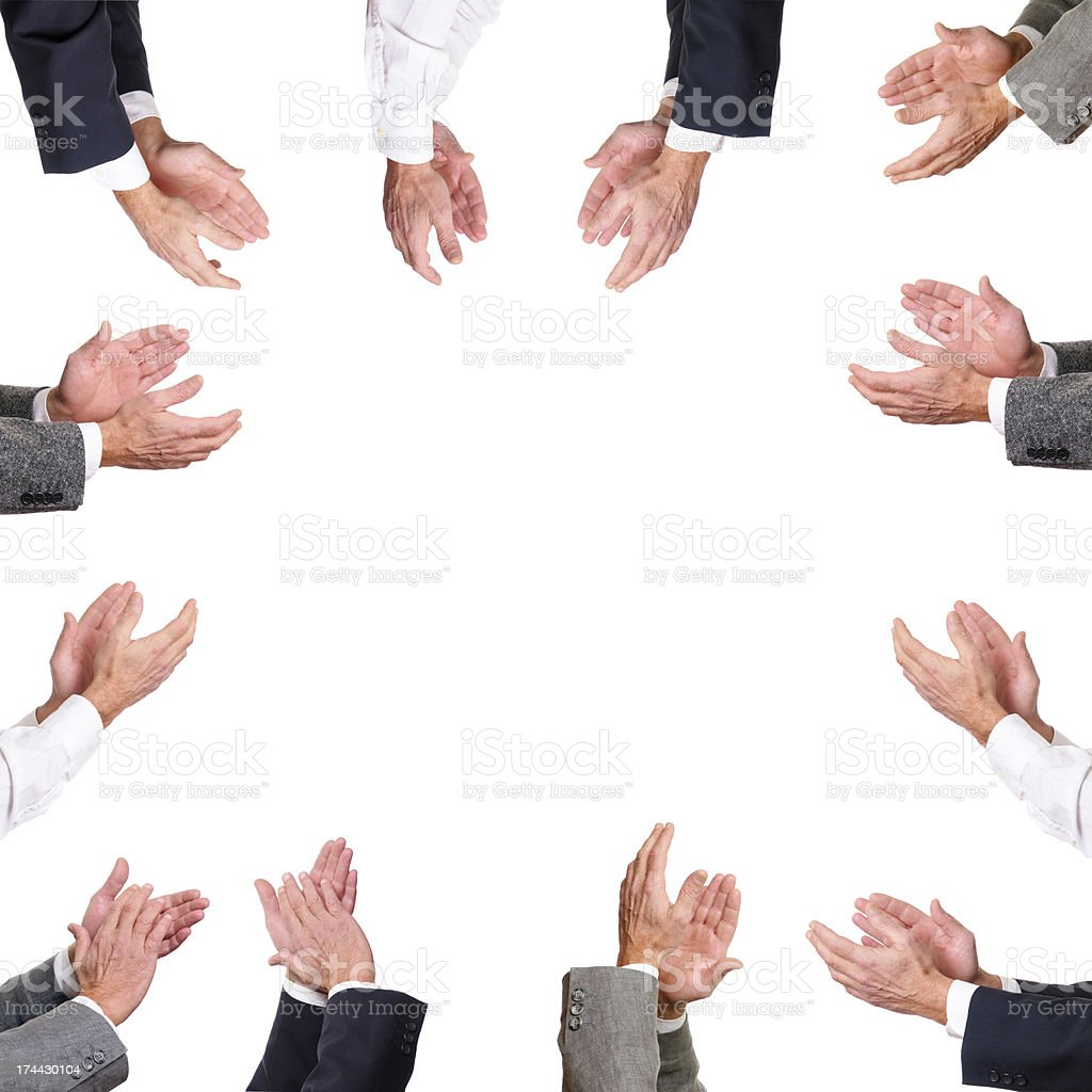 Several pairs of hands applauding around blank space royalty-free stock photo