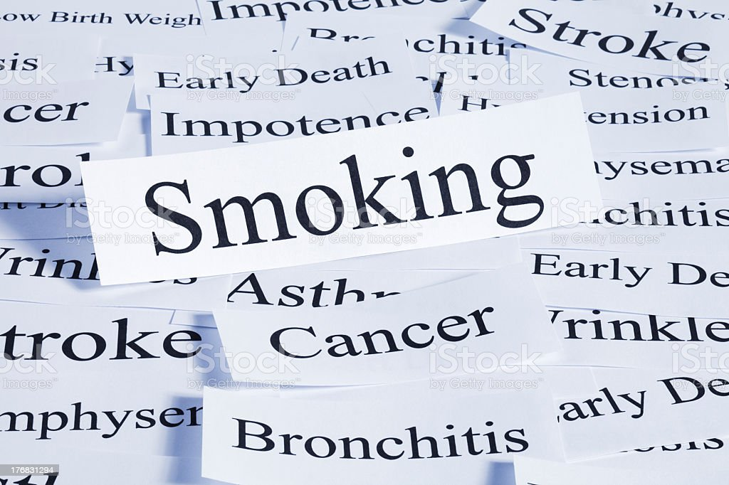 Several pieces of paper with smoking and cancer words royalty-free stock photo