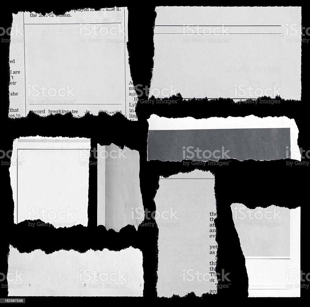 Several pieces of torn up paper stock photo
