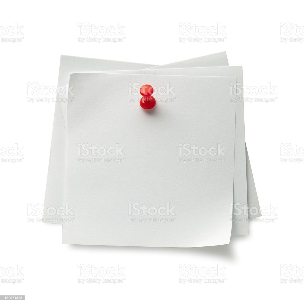 Several post-it notes pinned to the wall royalty-free stock photo