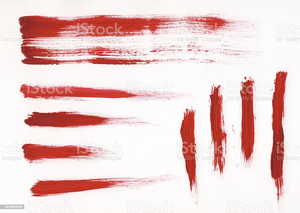 Several red brush strokes of various lengths royalty-free stock photo
