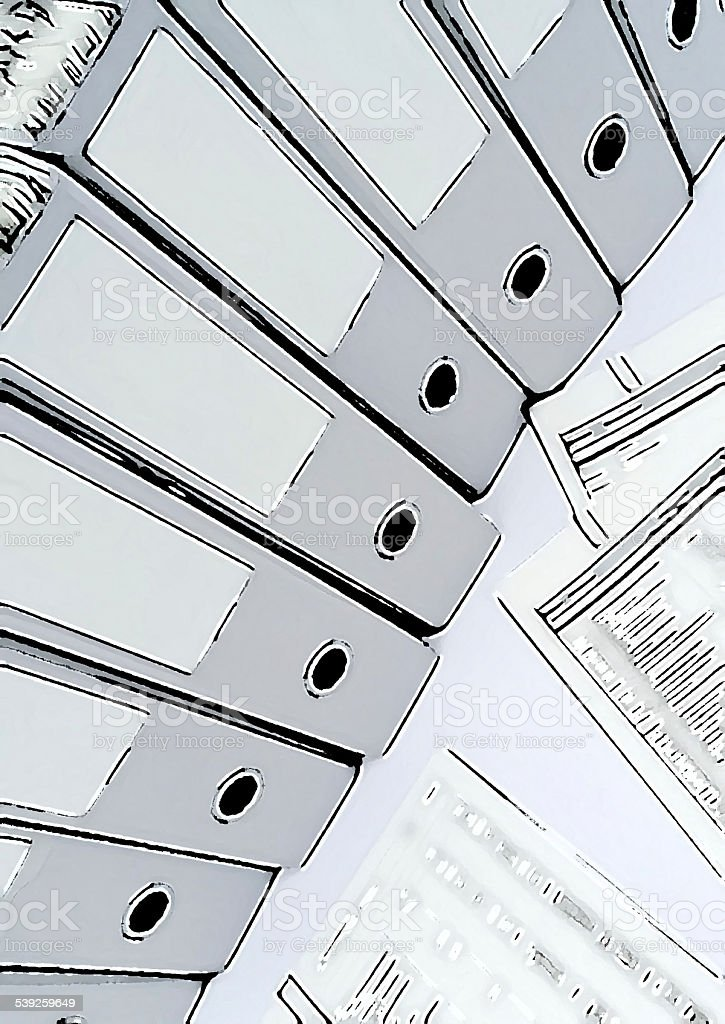 several ring binders with reports in a business context stock photo