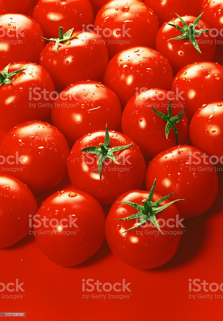 Several ripe tomatoes on a red surface royalty-free stock photo
