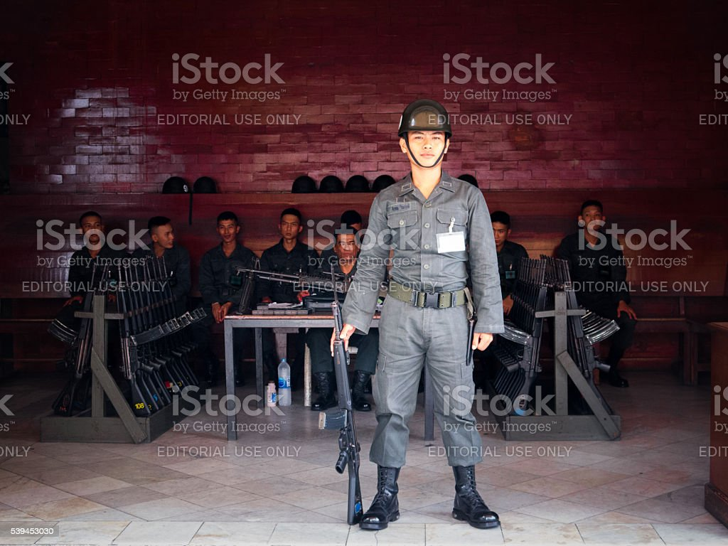 Several Royal Thai Army Military Soldiers with Guns, Bangkok, Thailand stock photo