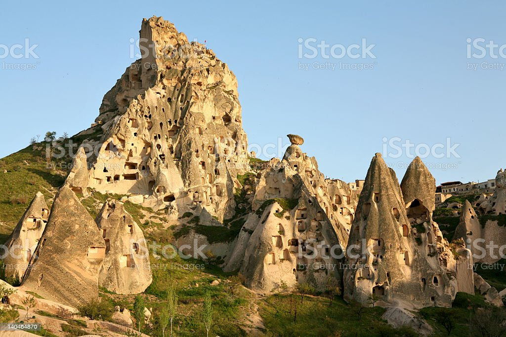 Several sandstone rocks on mountains in Cappadocia, Turkey royalty-free stock photo