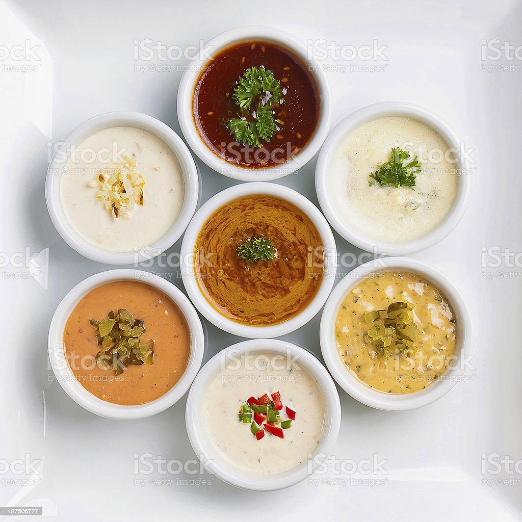 several sauce with different sauces stock photo