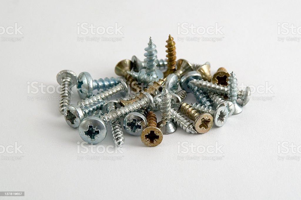 Several screws in metal and copper. royalty-free stock photo