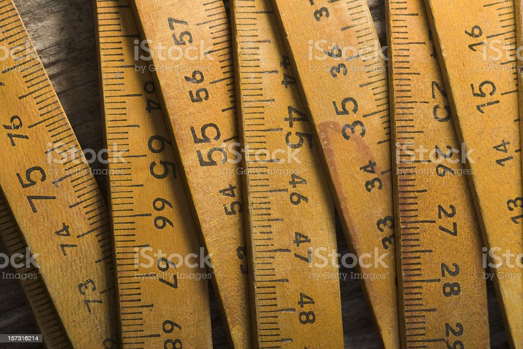 Several sections of a folding metric ruler stock photo