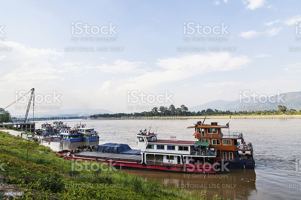 Several ships which anchor in the Mekong river stock photo