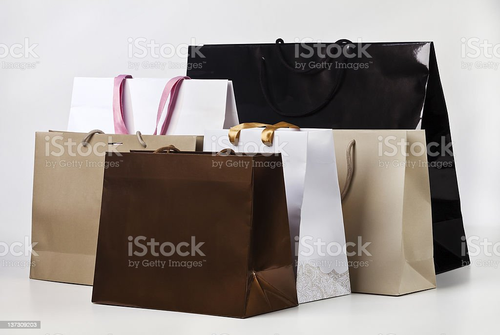 Several shopping bags. stock photo