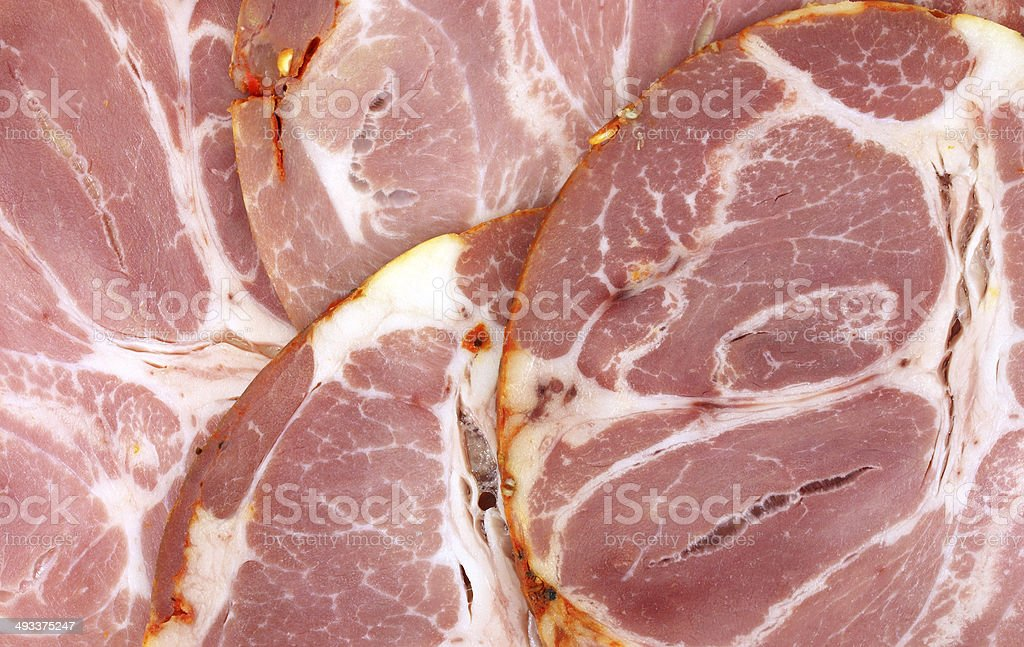 Several slices of hot capicola stock photo